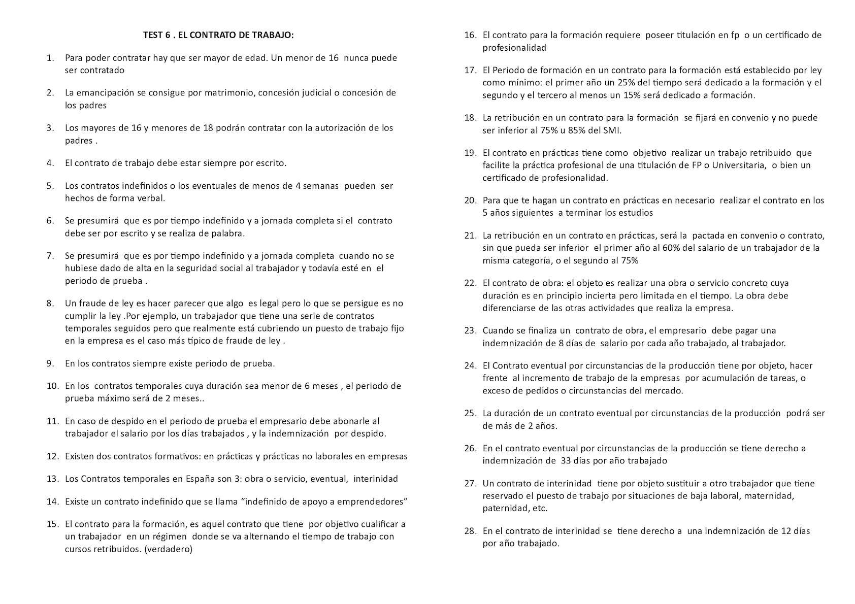 Calaméo - Test del tema 6. El contrato de trabajo