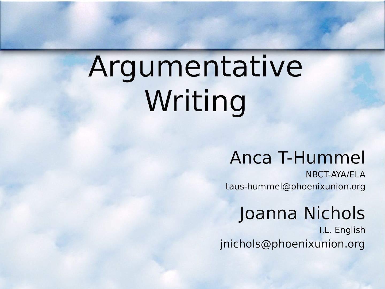 features of argumentative essay ppt