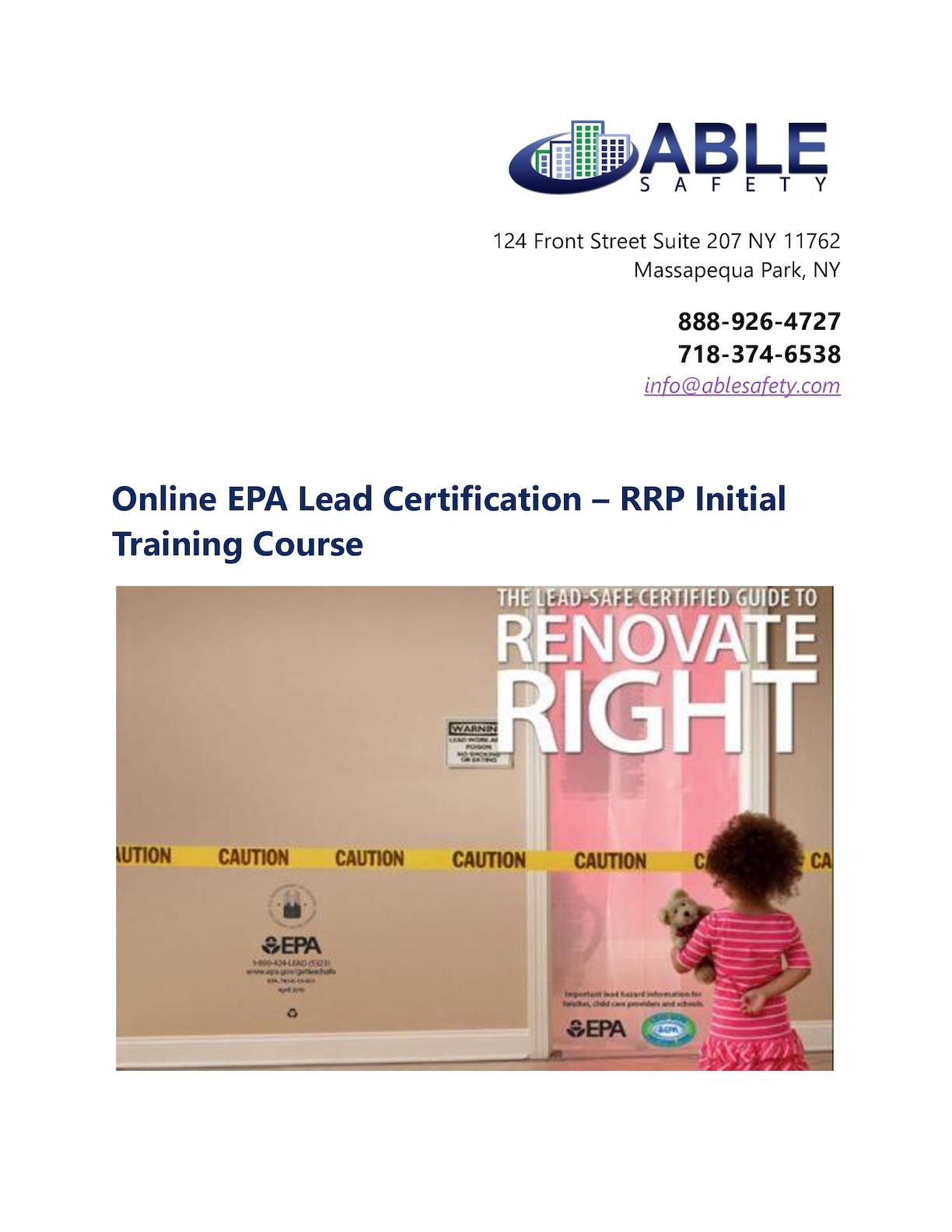 Calamo Online Epa Lead Certification Rrp Initial Training Course