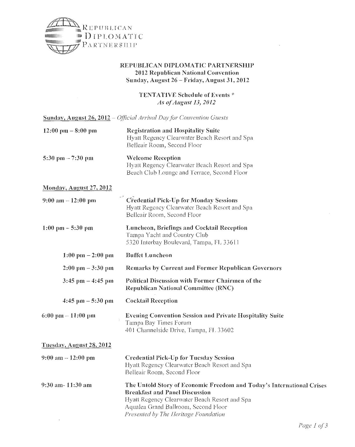 Republican National Convention Tentative Schedule