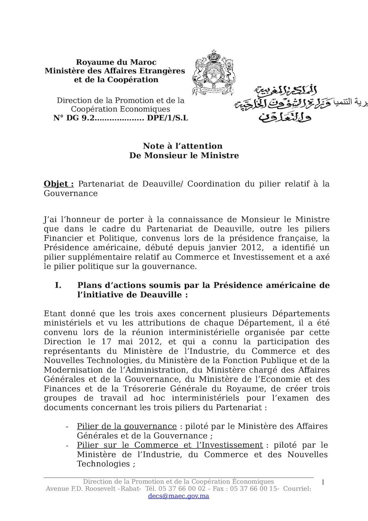 Note Coordination Pilier Gouvernance Réunion Doha