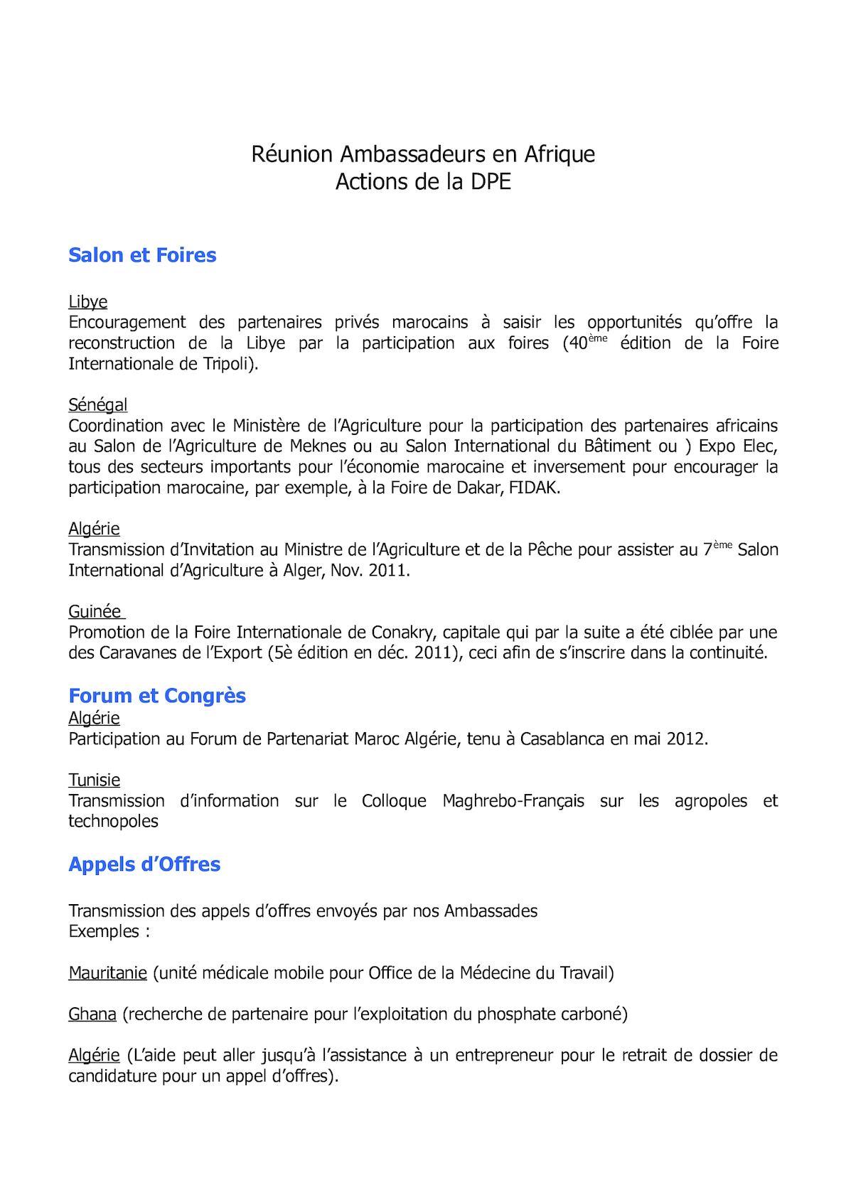 Version Résumée En Français - Réunion Ambassadeur En Afrique - Préparation Intervention Sur Actions DPE