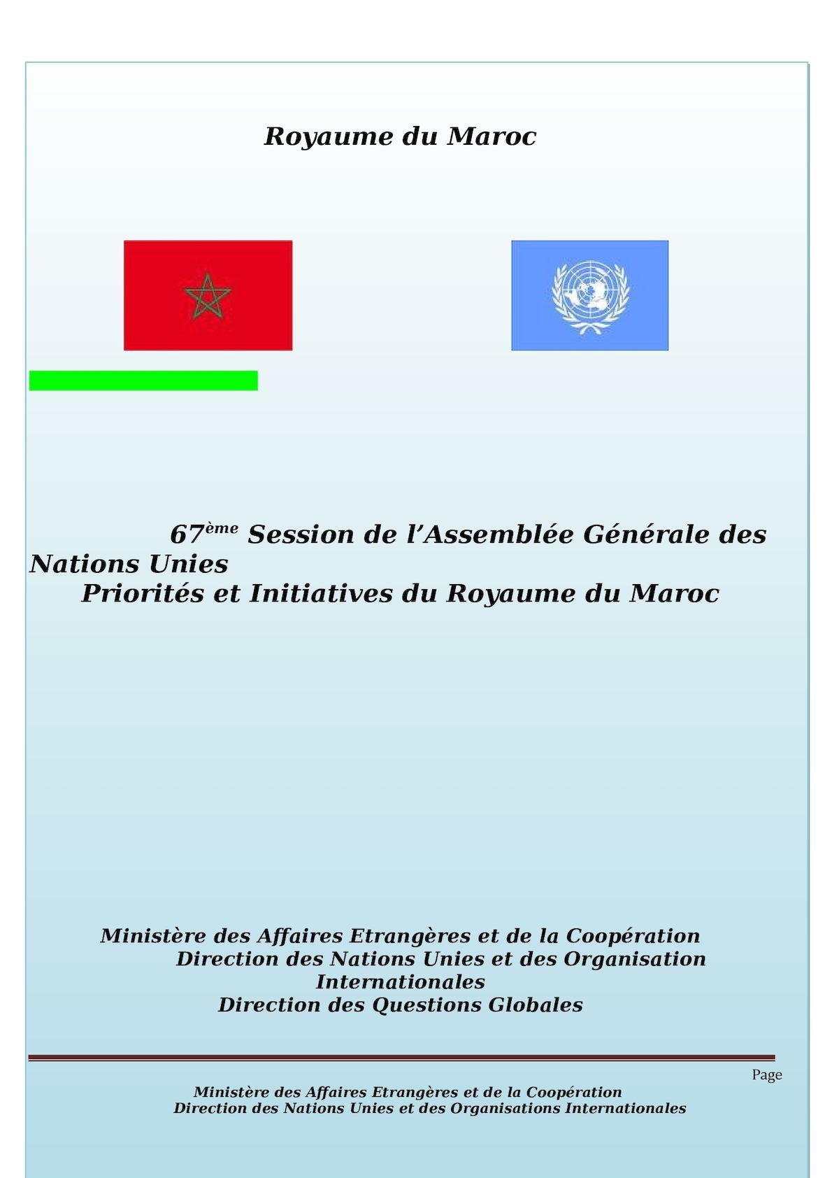 POSITION PAPER 67eme Session De L'AG ONU
