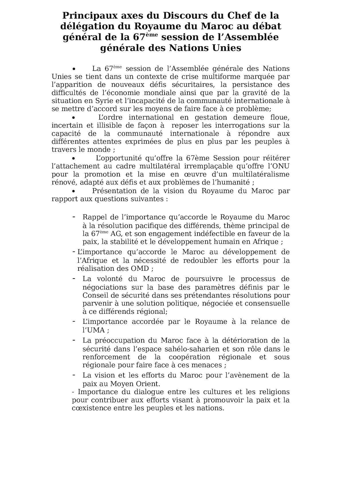 Principaux Axes Du Discours De La 67 AG