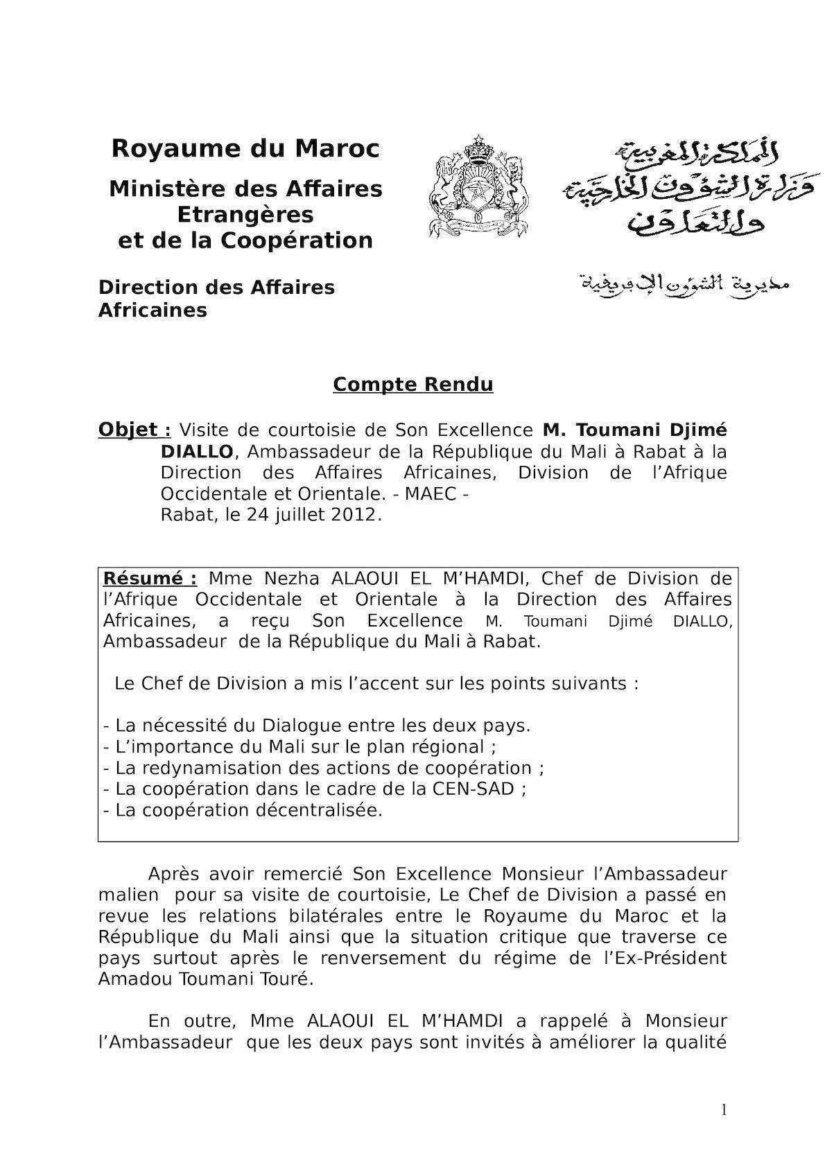 Rapport Sur La Visite De L'Ambasadeur Du Mali
