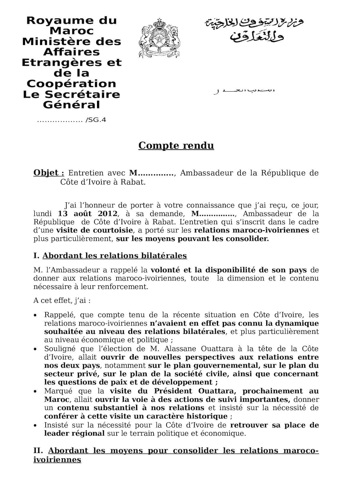 Compte Rendu Ambassadeur Cote D'ivoire