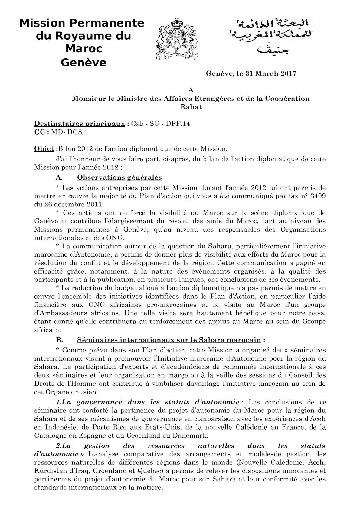Fax Bilan De L'action Diplomatique 2012