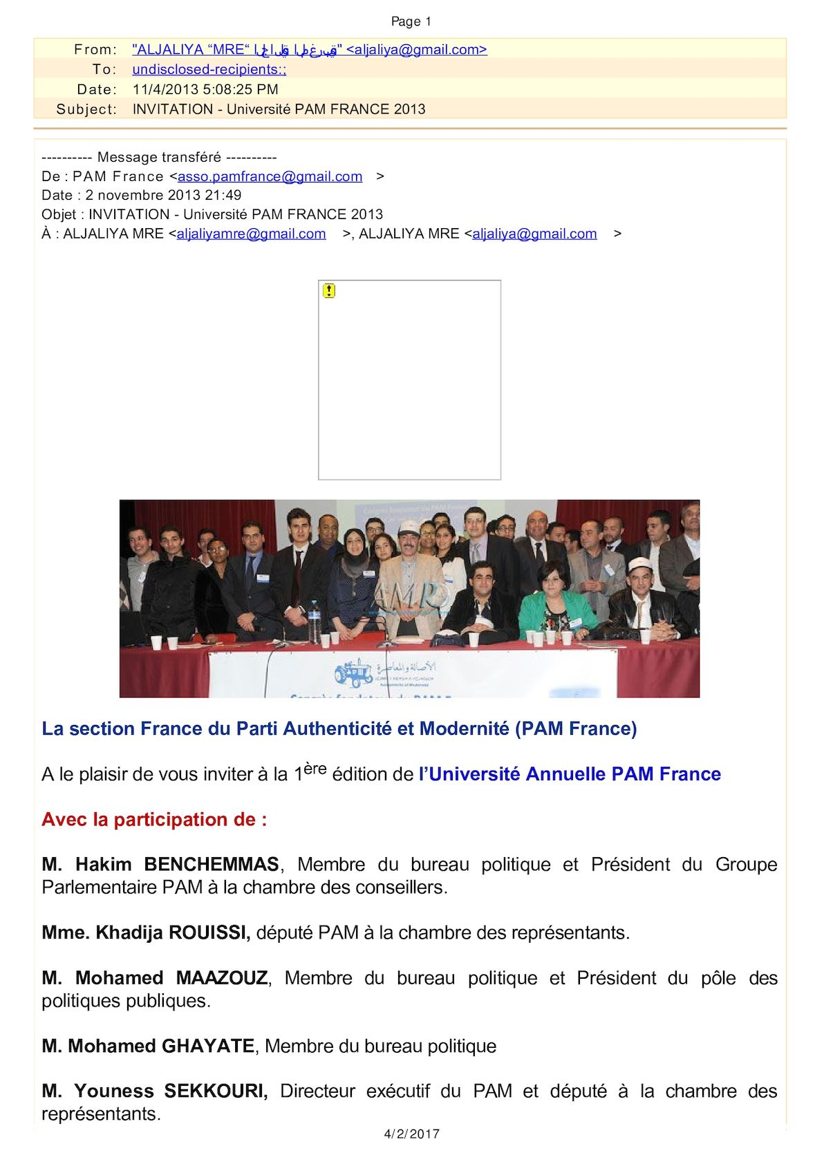 "Invitation Université Pam France 2013 Aljaliya ""Mre"" الجالية المغربية (Aljaliya@gmail Com) 2013 11 04 2308"