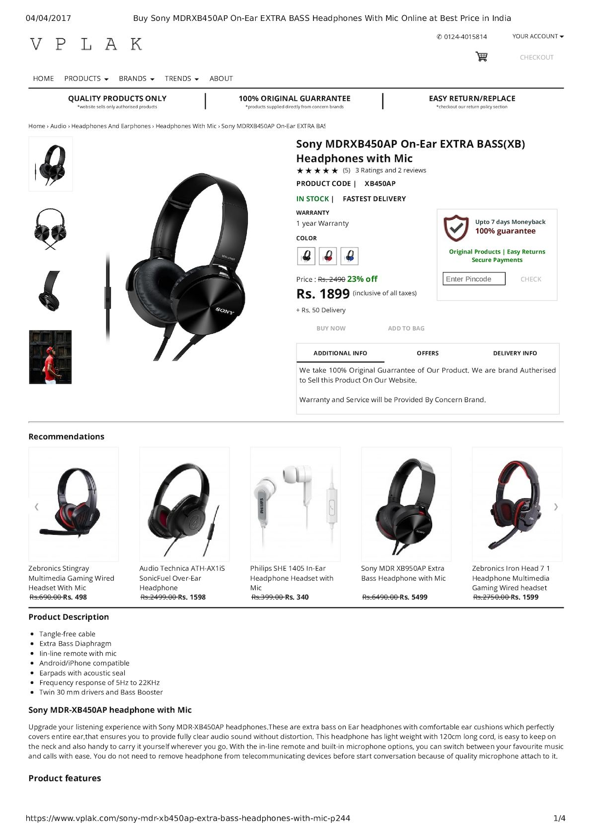Calamo Buy Sony Mdrxb450ap On Ear Extra Bass Headphones With Mic Jgos17 Philips In Headphone She1405 Black Online At Best Price India