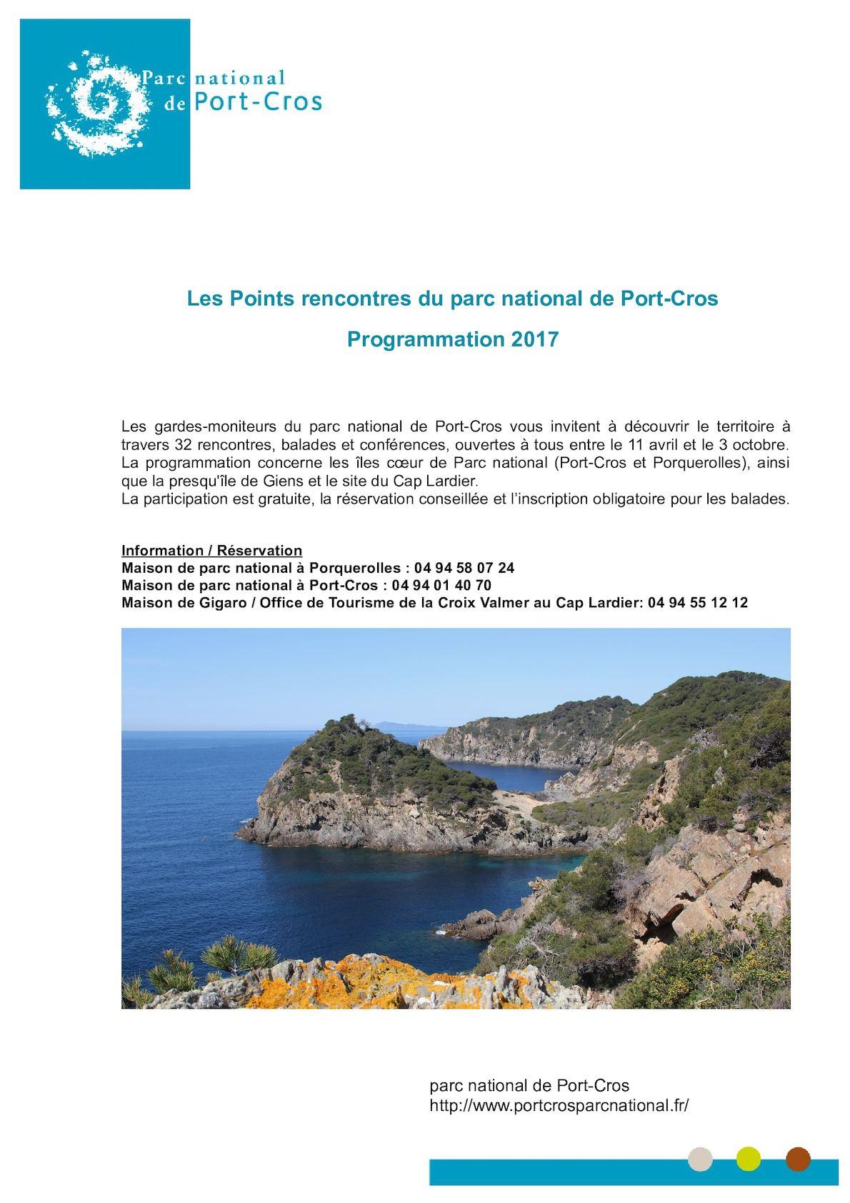 Calam o programme 2017 pr parc national de port cros - Office du tourisme la croix valmer ...