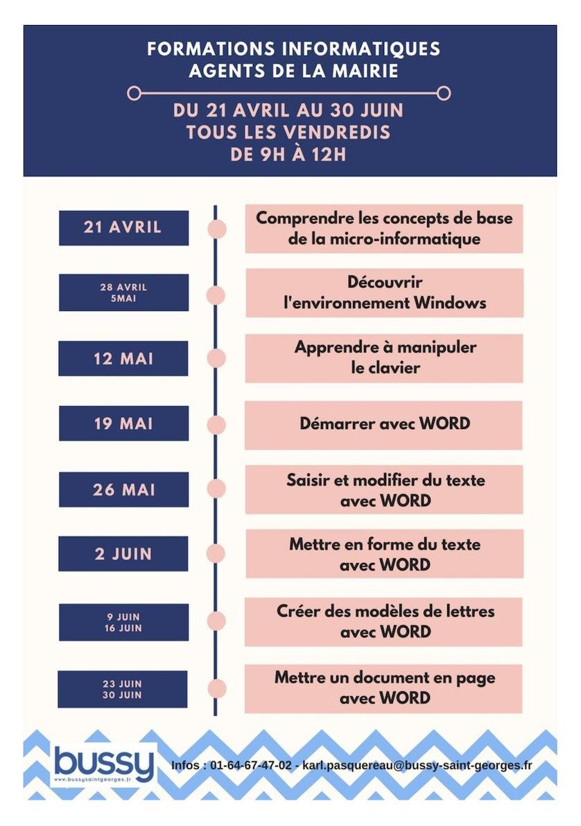 Livret des Formations Informatiques du 21 avril au 30 juin 2017 - Agents de la Mairie