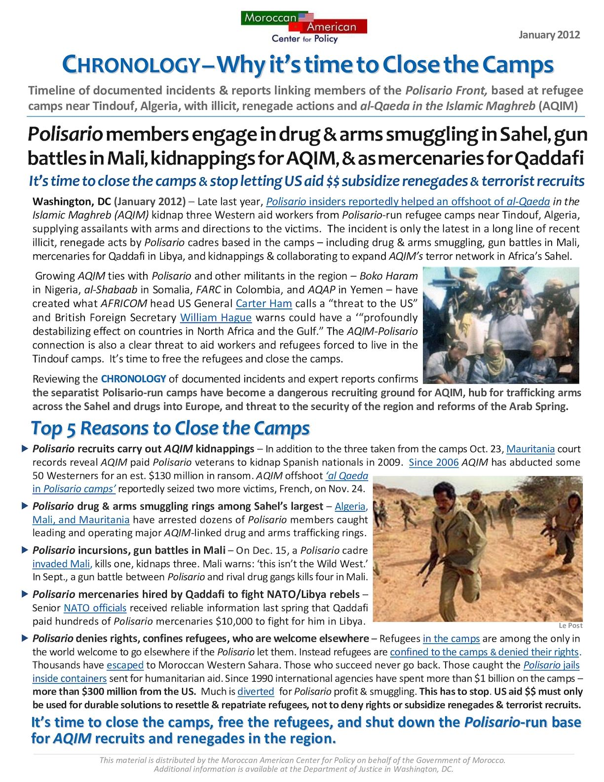 CHRONOLOGY - 'Polisario Renegades & AQIM Recruits- It's Time To Close The Camps' 1 20 12 DRAFT