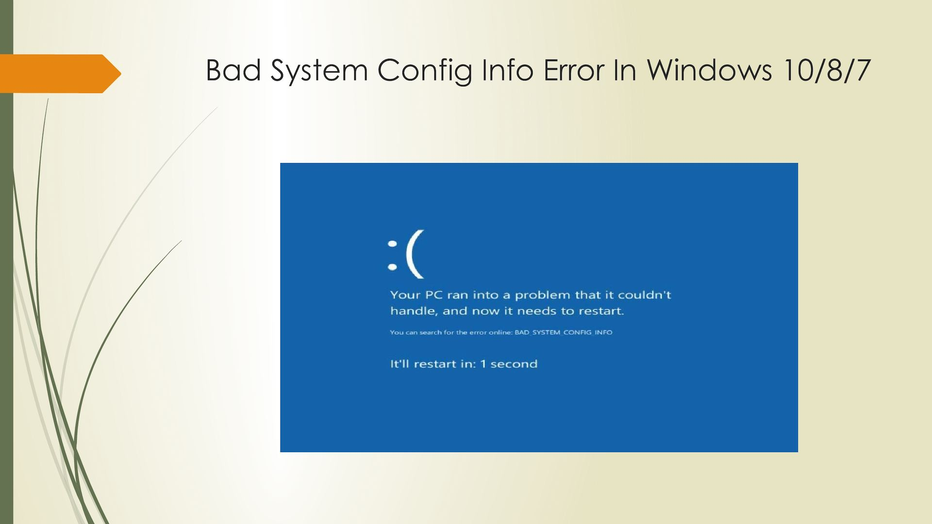 stop code windows 10 bad system config info