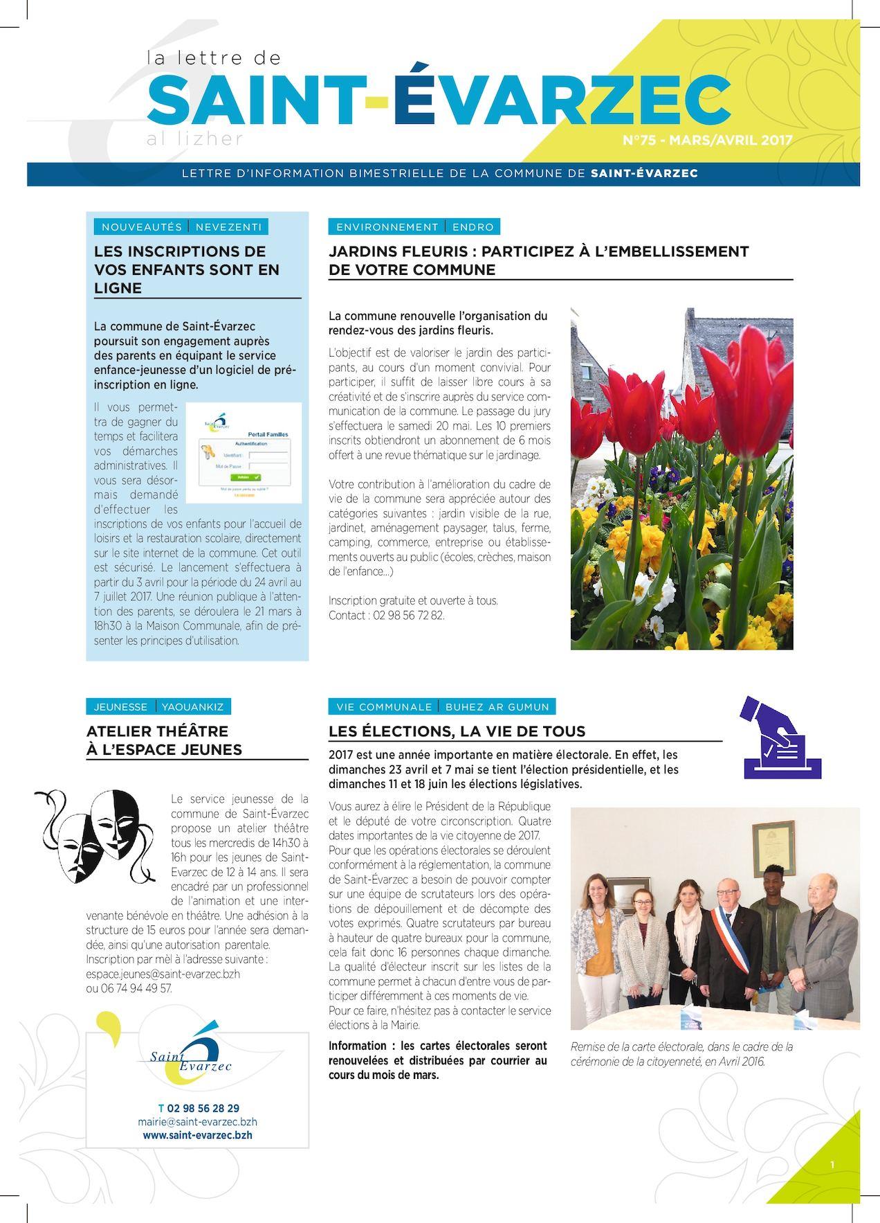 Calam o 49333 mairie saint evarzec lettre mars avril for Entreprise jardinage