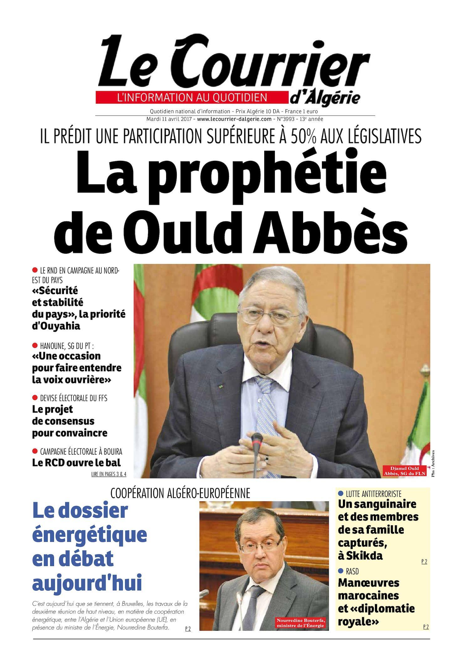 Le Courrier D'Algérie Du Mardi 11 Avril 2017