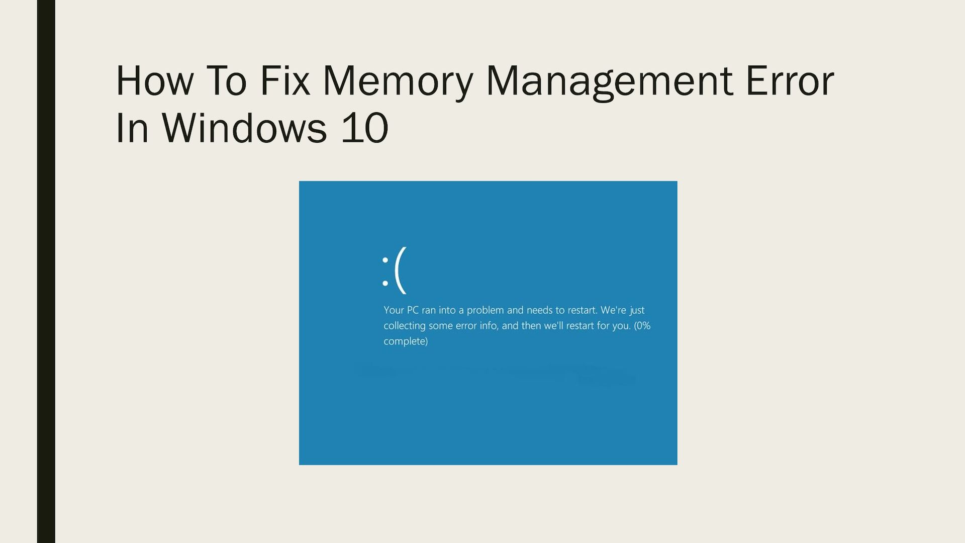 Image result for Fix Window 10 Memory Management Error