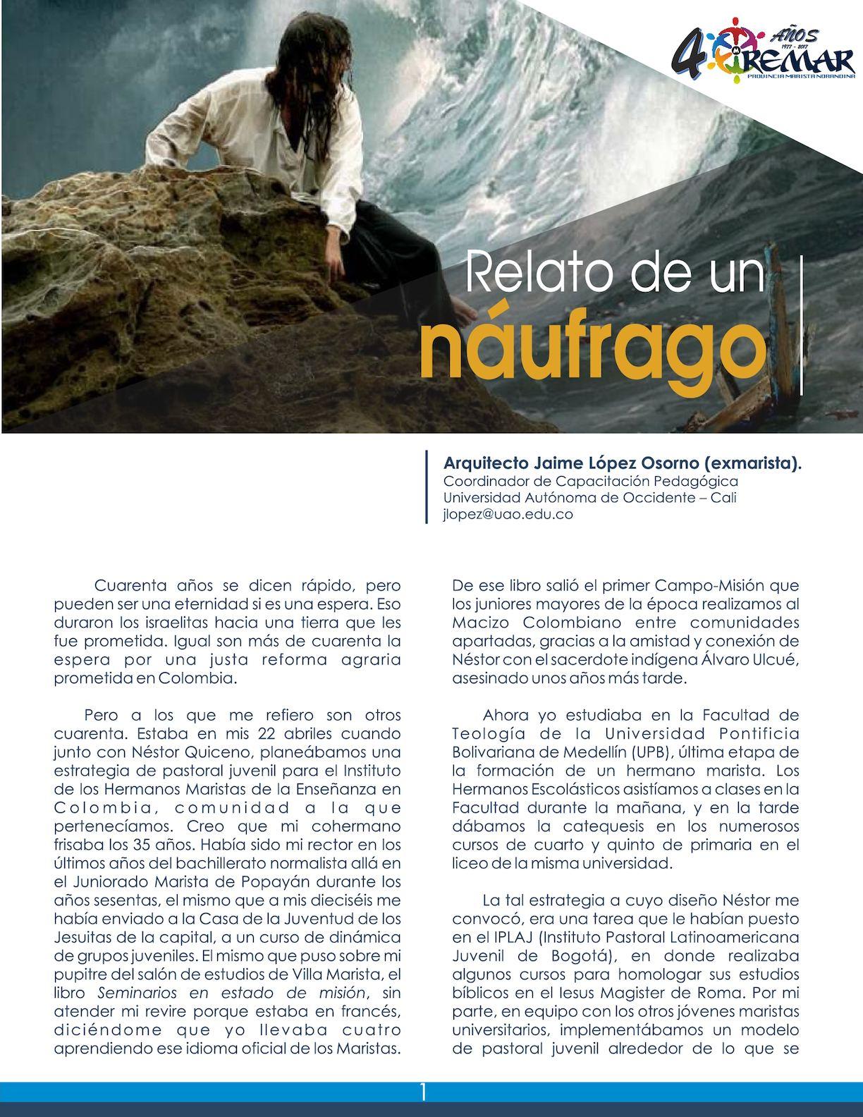 Relato De Un Náufrago