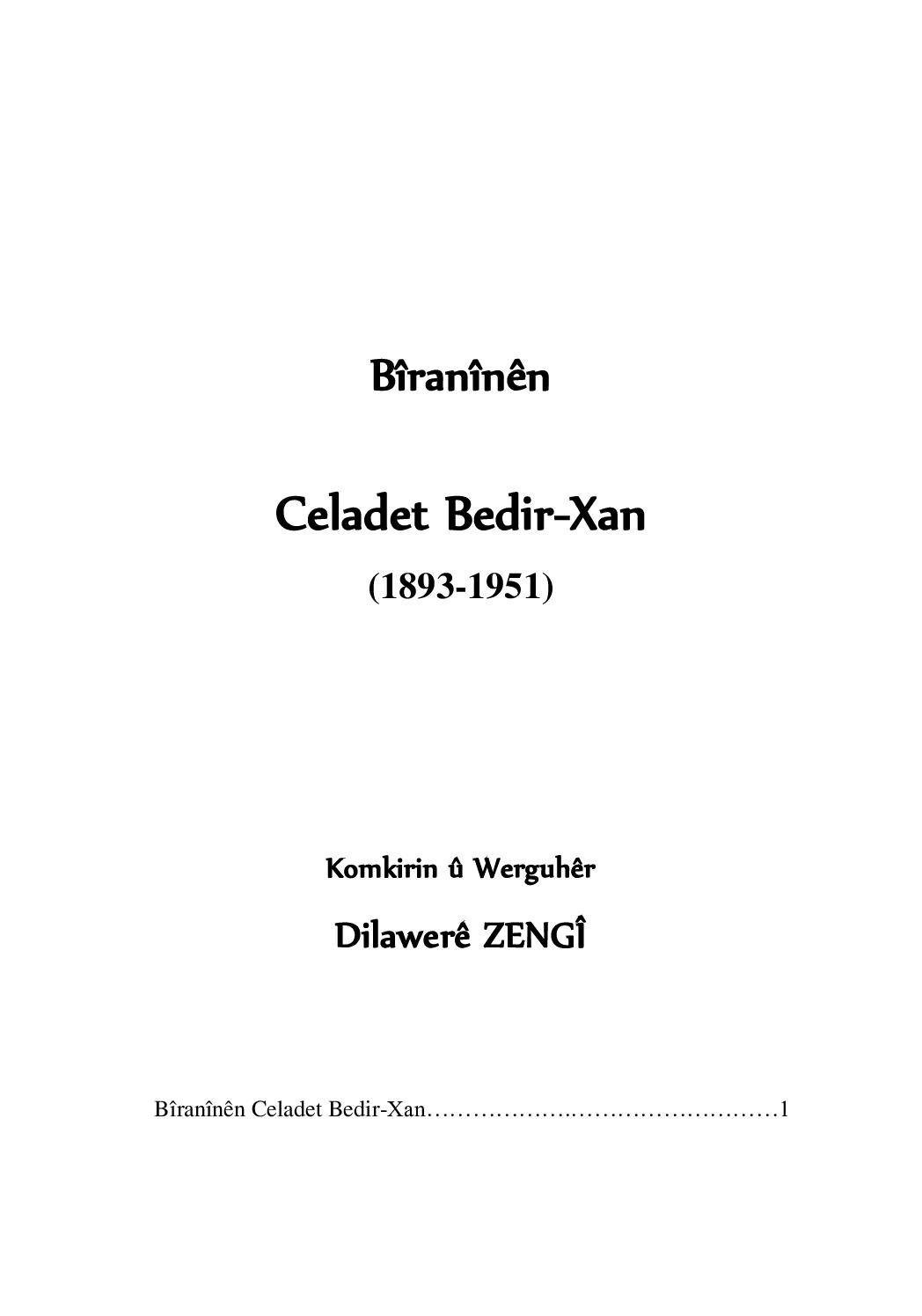 Bîranînên Celadet Bedirxan (1893 1951).