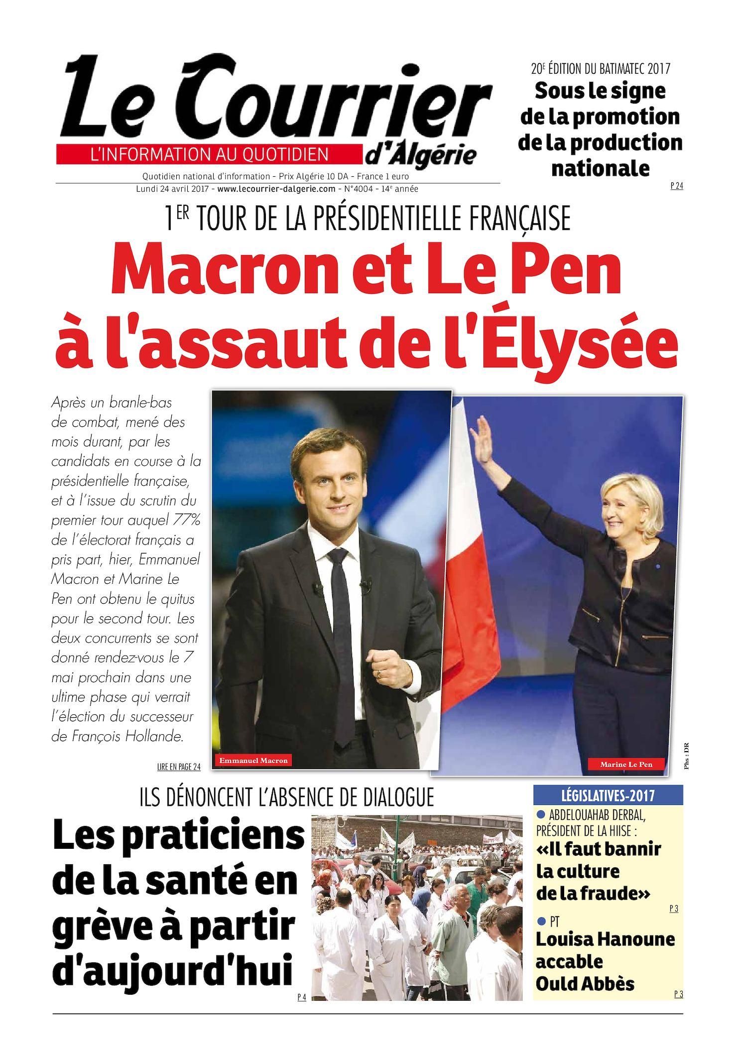 Le Courrier D'Algérie Du Lundi 24 Avril 2017