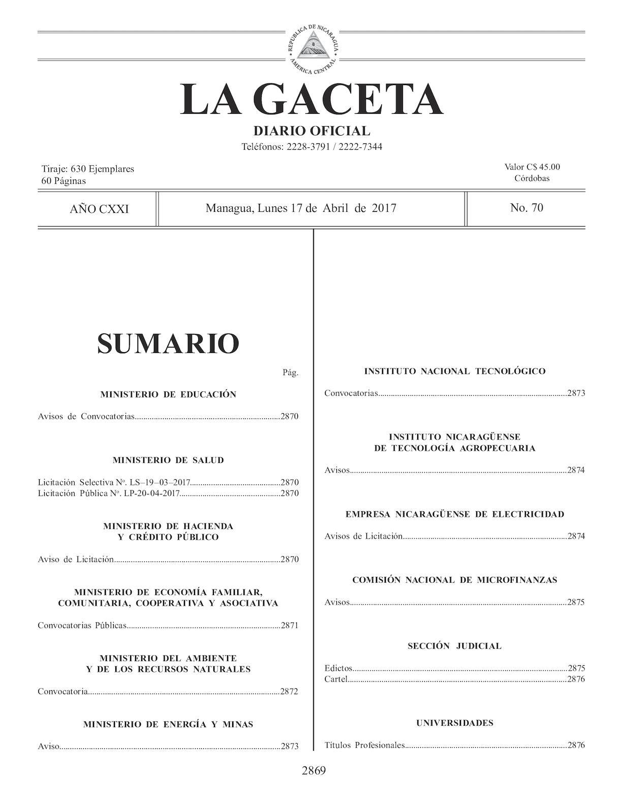 Gaceta No 70 Lunes 17 De Abril De 2017