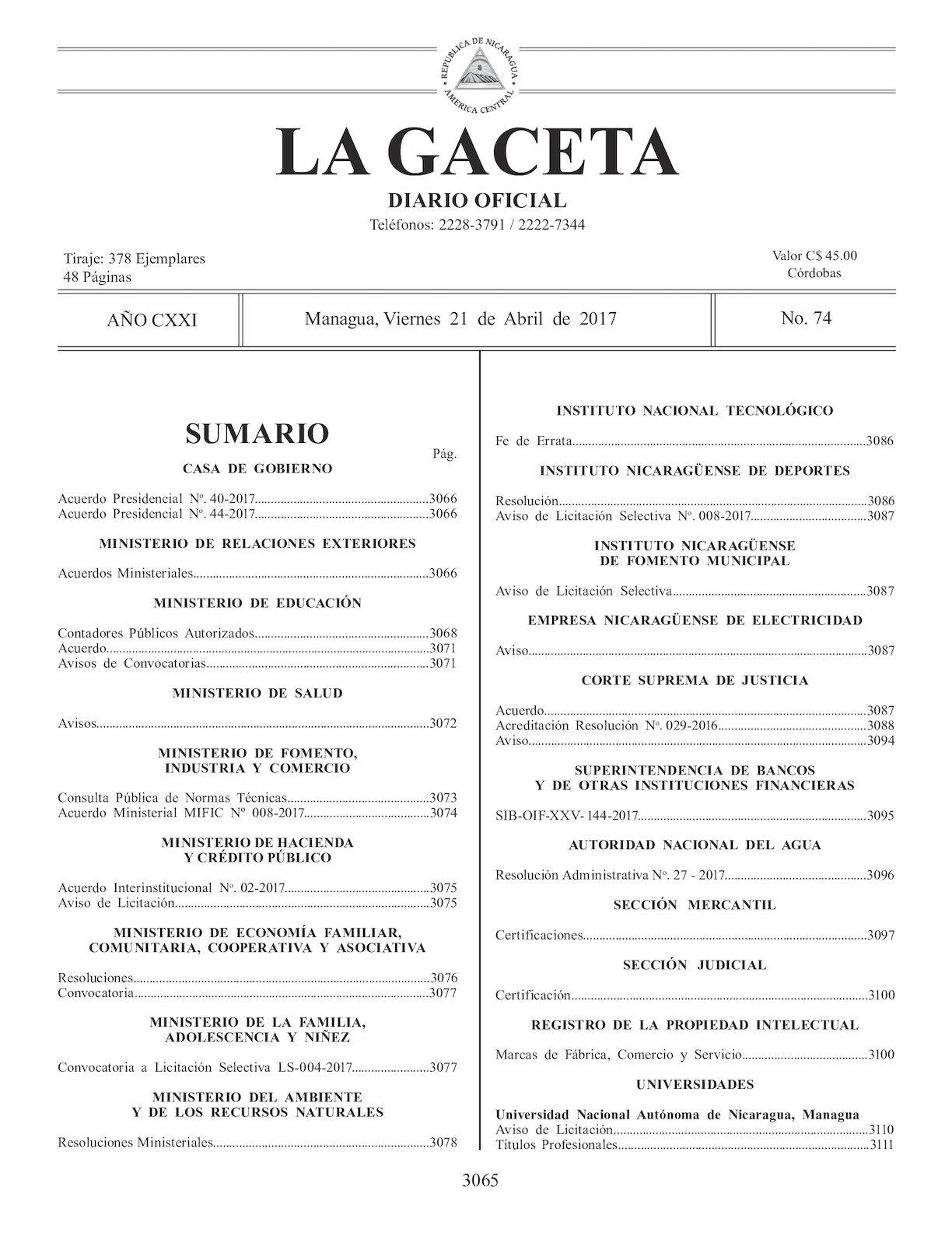 Gaceta No 74 Viernes 21 De Abril De 2017