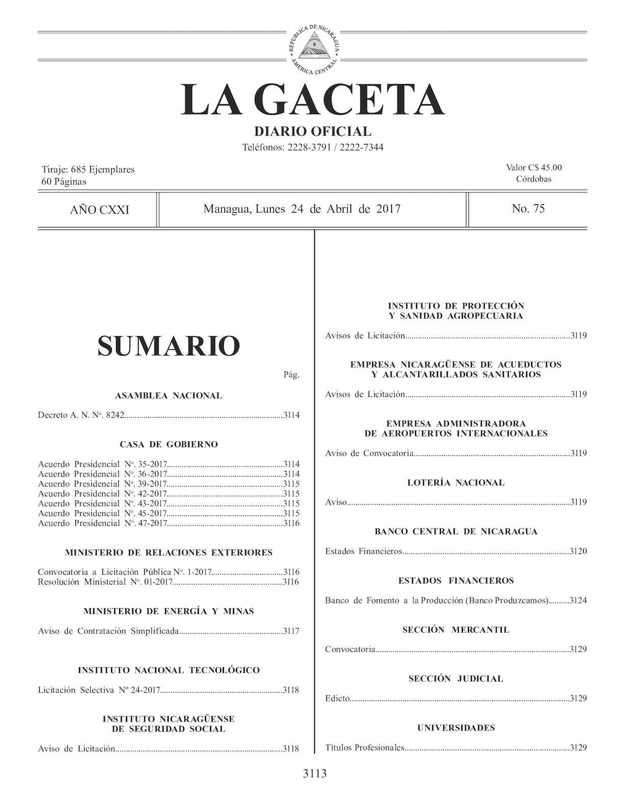 Gaceta No 75 Lunes 25 De Abril De 2017