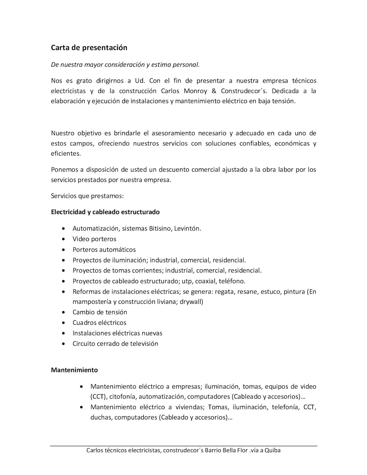 carta presentacion empresas - Selo.l-ink.co
