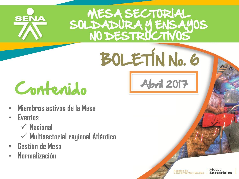 Mesa Sectorial de Soldadura y END Boletín 1 2017