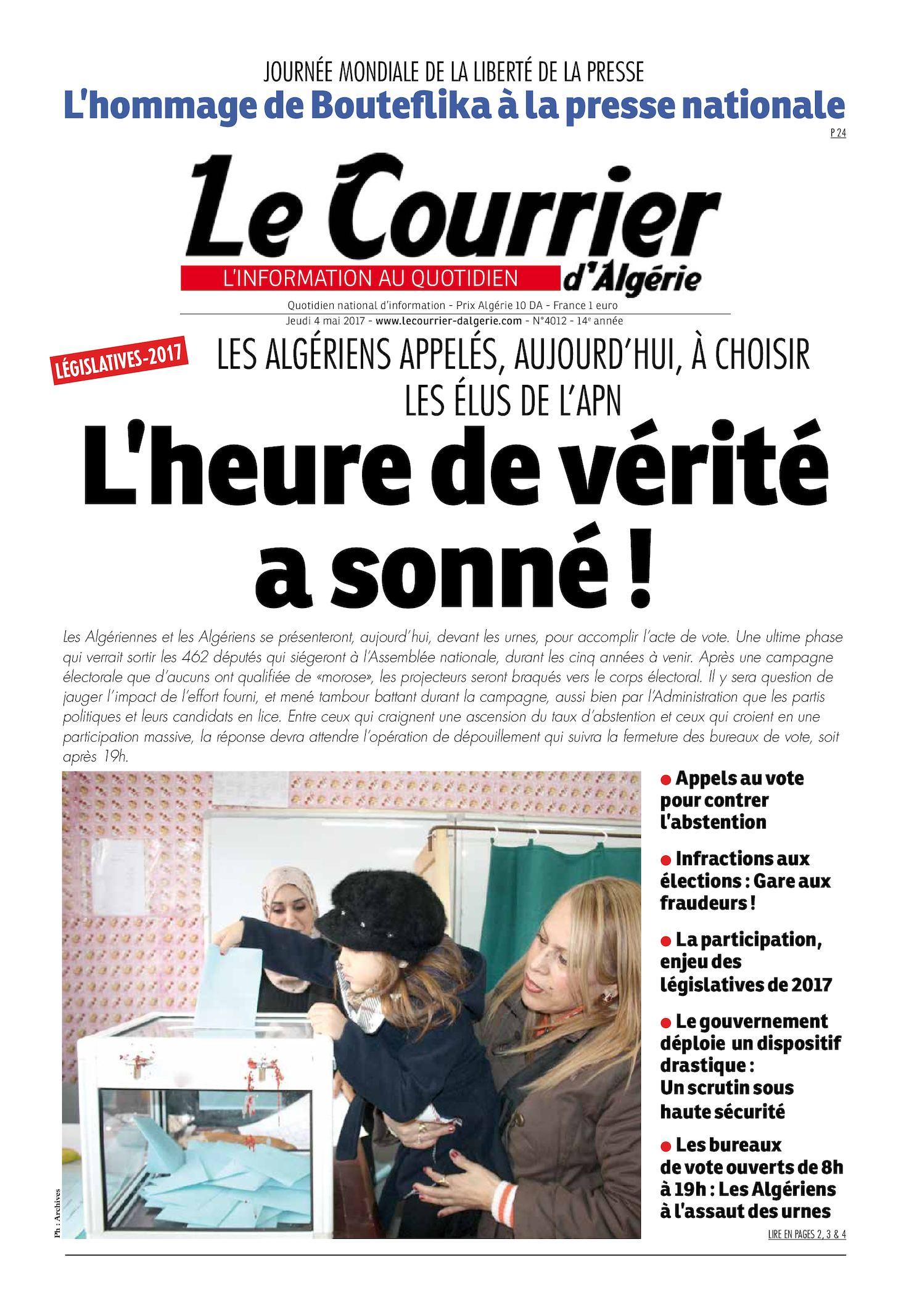 Le Courrier D'Algérie Du Jeudi 4 Mai 2017