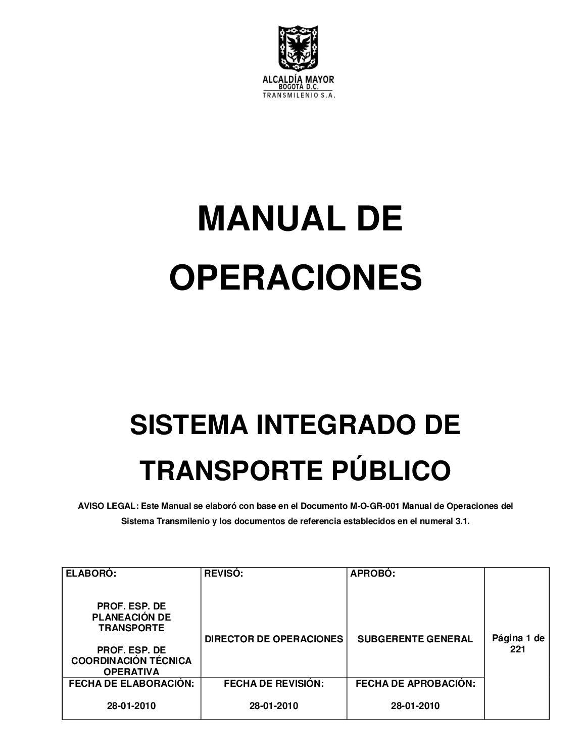 Calaméo - Anexo 2 Manual De Operaciones Sitp