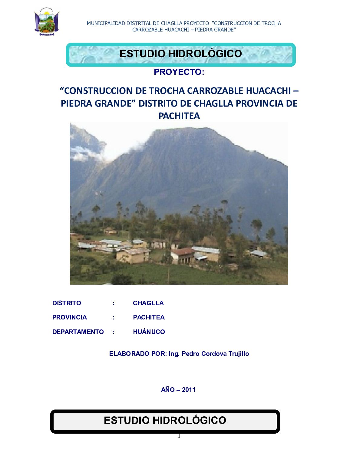 Estudio Hidrologico Carretera Panao