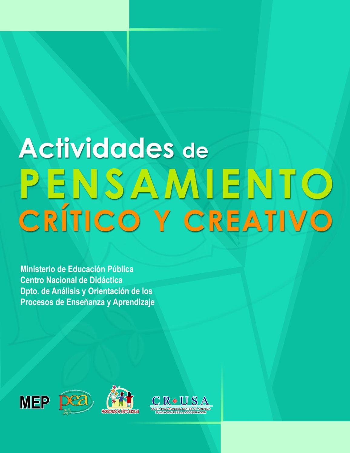 Calaméo - ACTIVIDADES DE PENSAMIENTO CRÍTICO Y CREATIVO