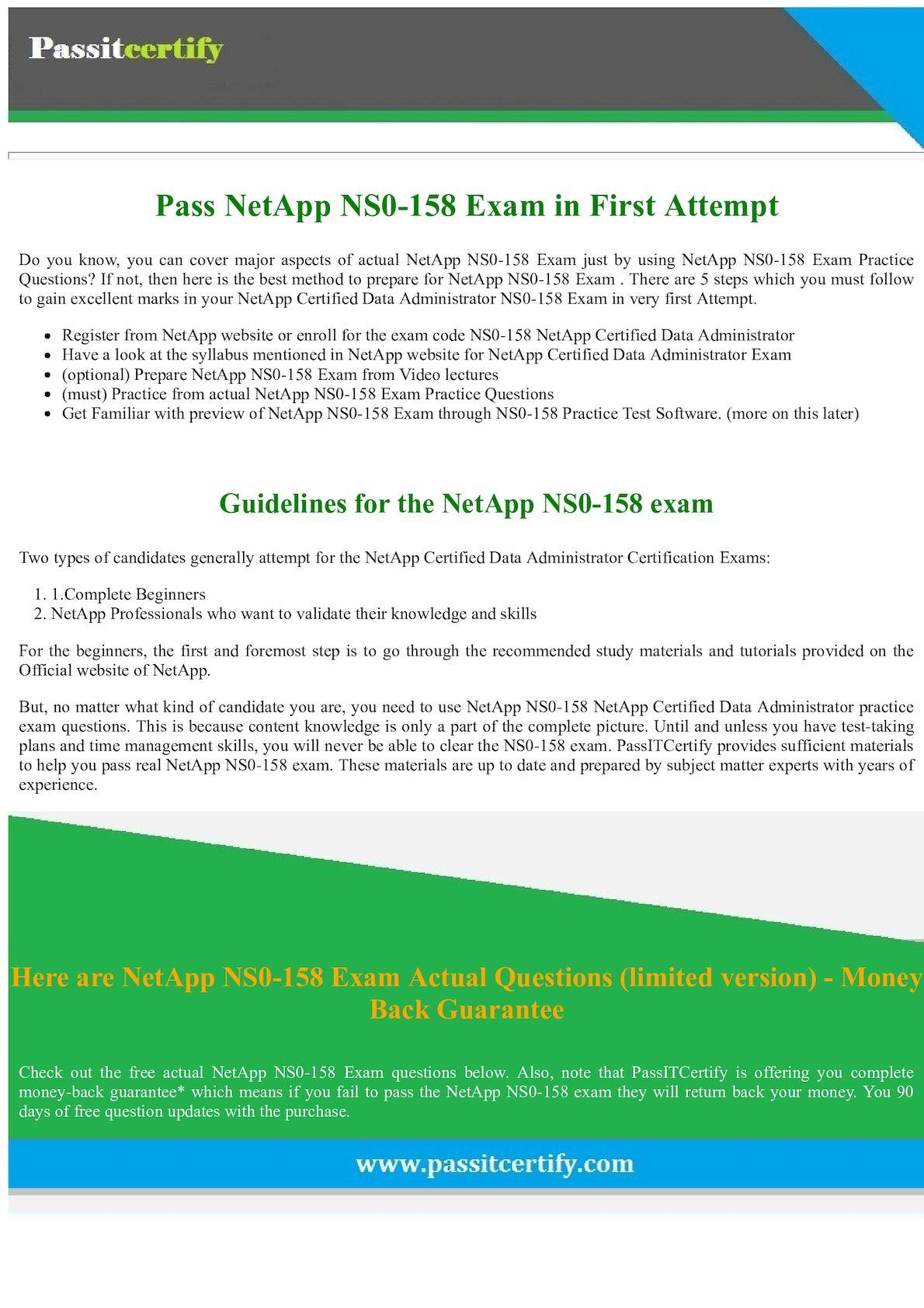 Calamo Ns0 158 Dumps Net App Certified Data Administrator Ncda Exam