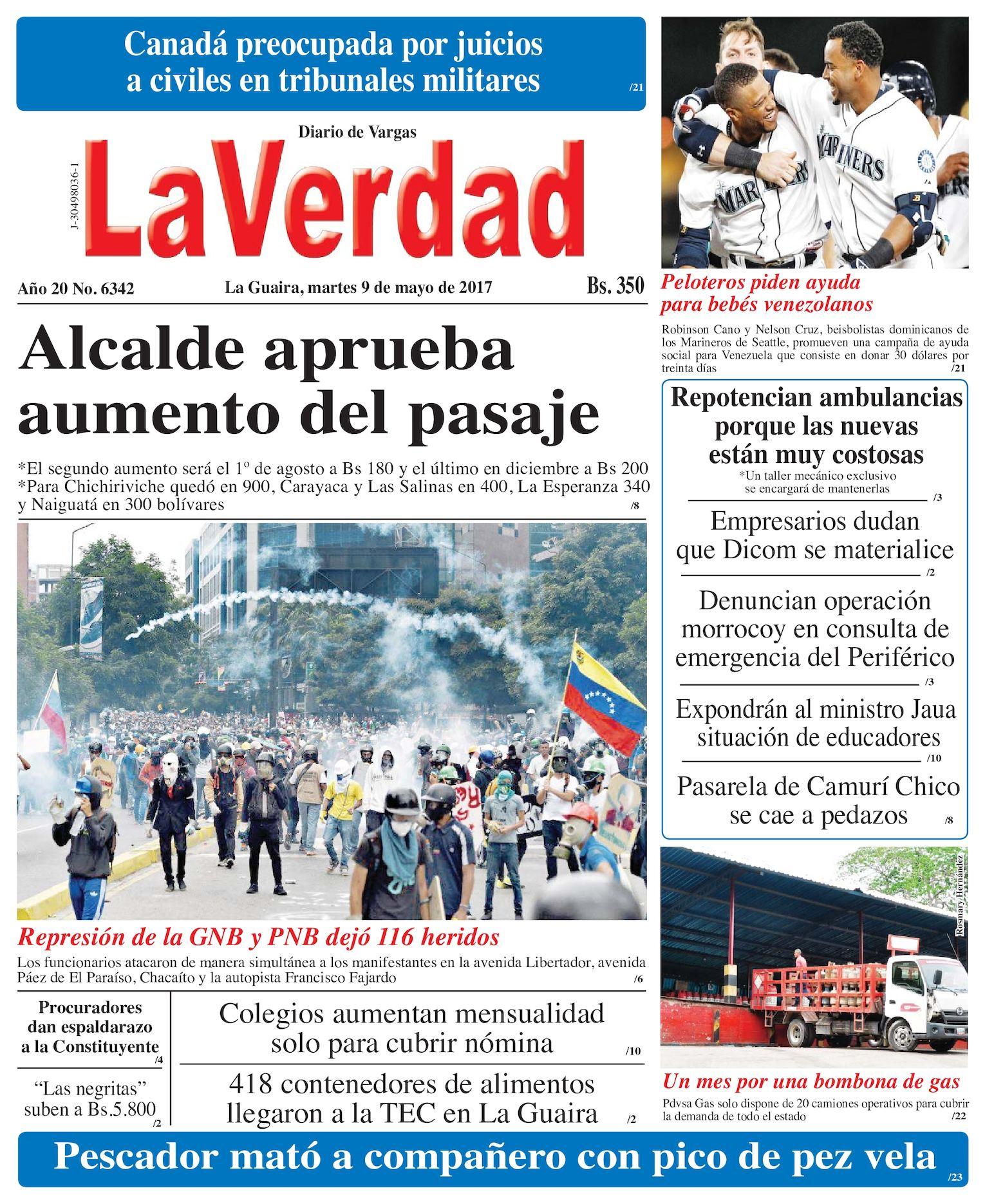 La Guaira, martes 09 de Mayo de 2017 Año 20 No 6342