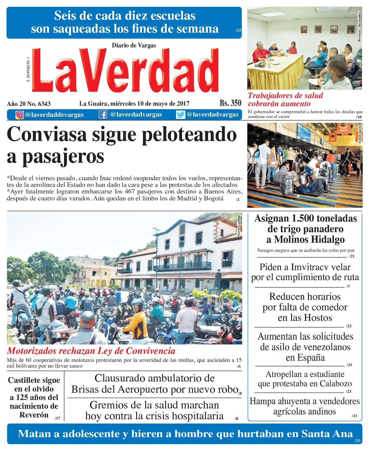 La Guaira, miércoles 10 de Mayo de 2017 Año 20 No 6343