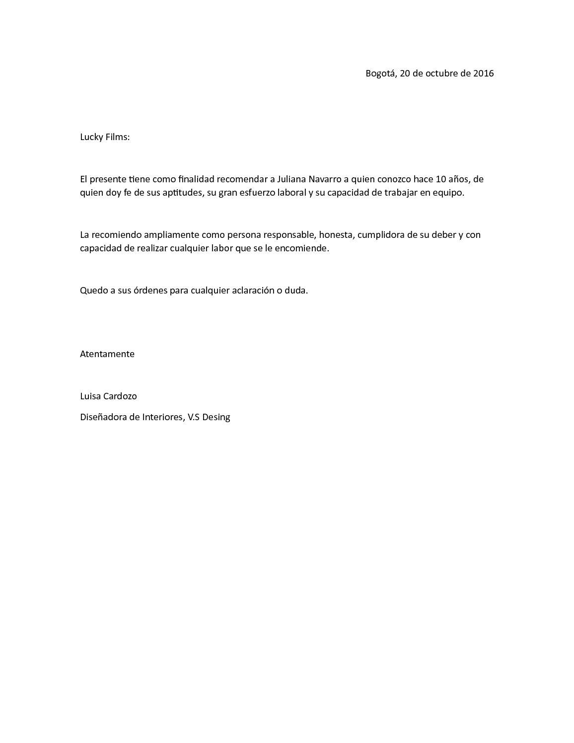 carta de recomendacion personal