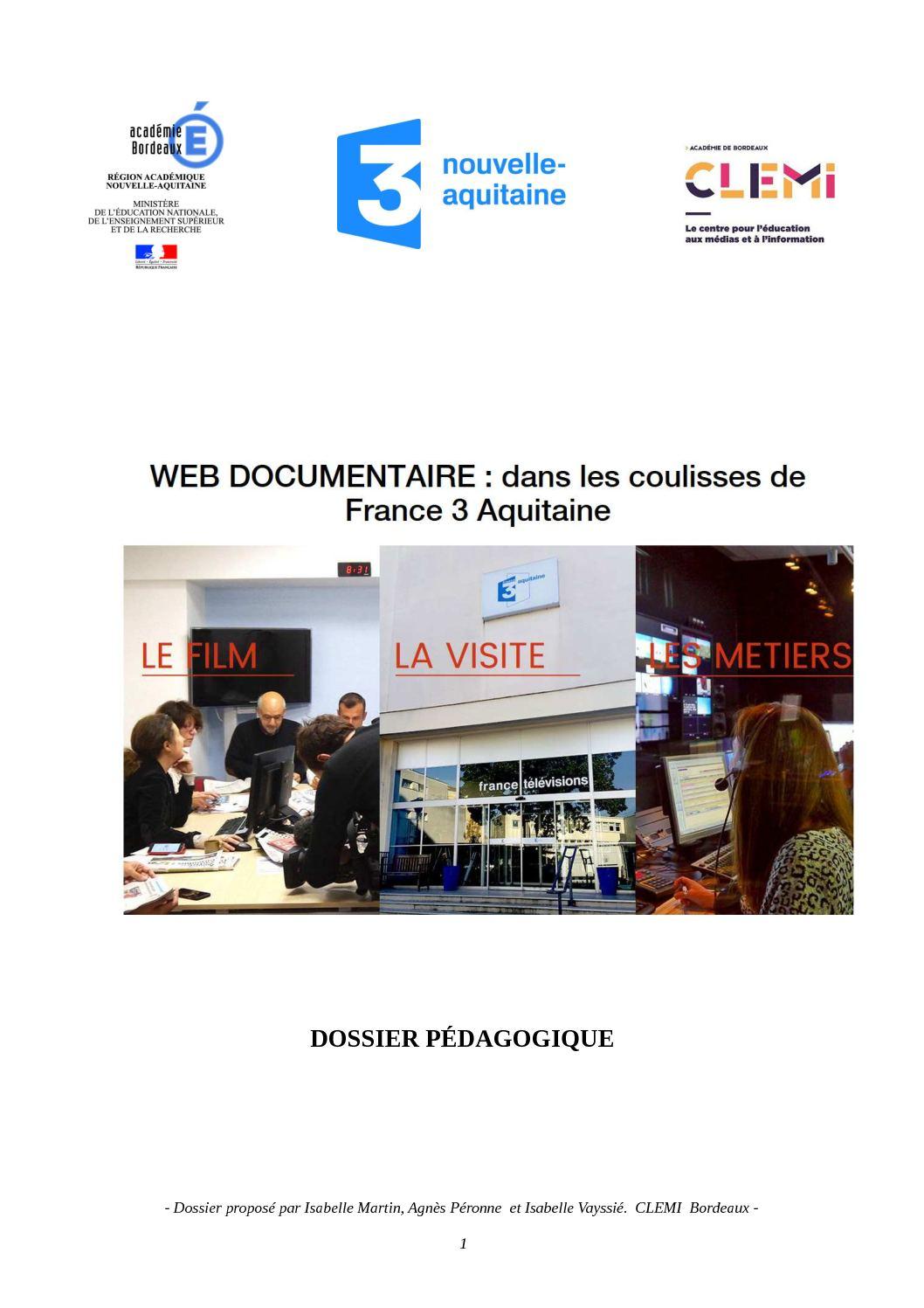 Dossier Pedagogique Webdoc F3 Aquitaine 2017