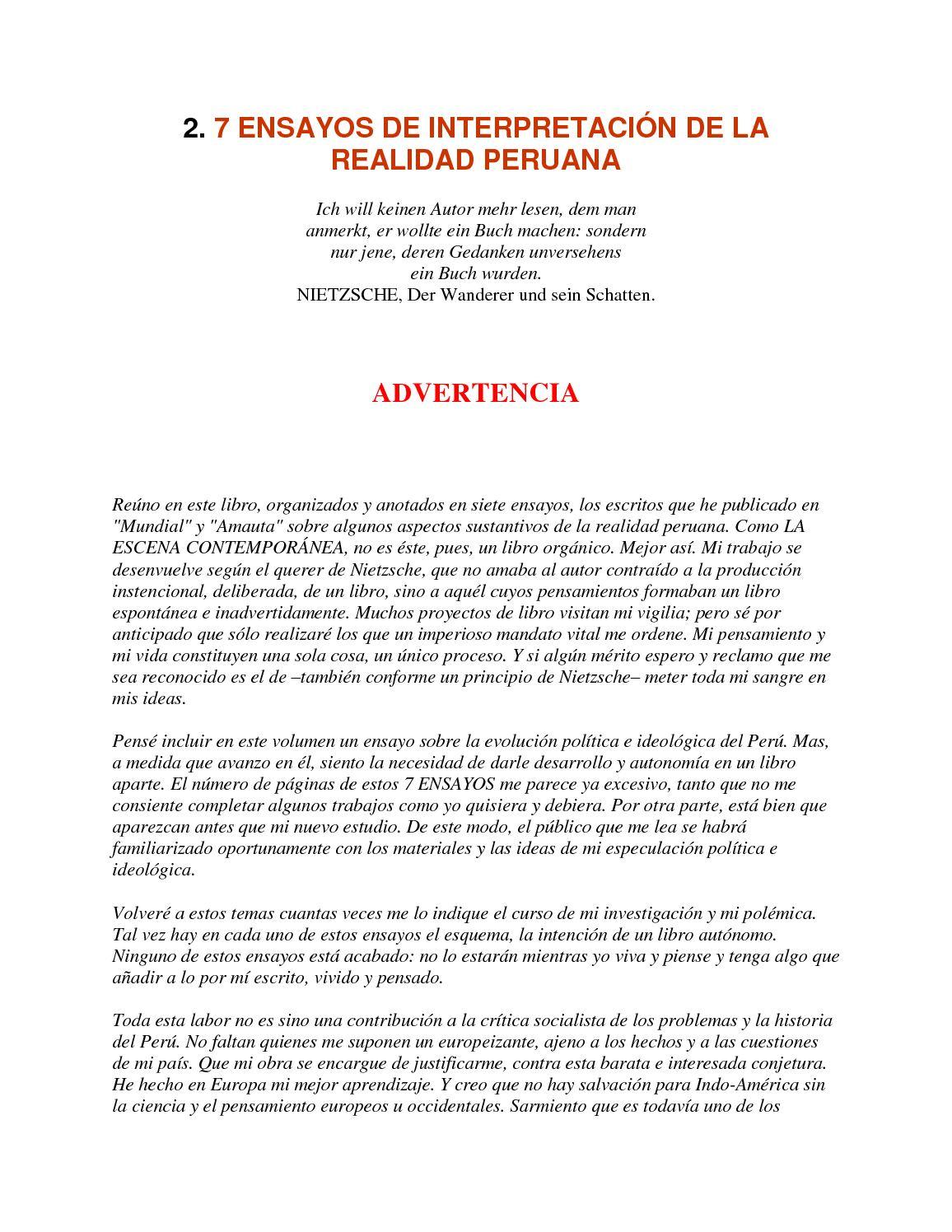 Calaméo - 2 7 Ensayos De Interpretación De La Realidad Peruana