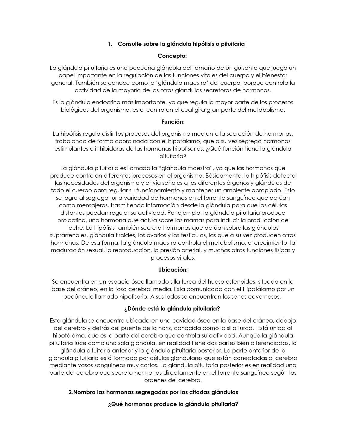 Calaméo - Consulte Sobre La Glándula Hipófisis O Pituitaria