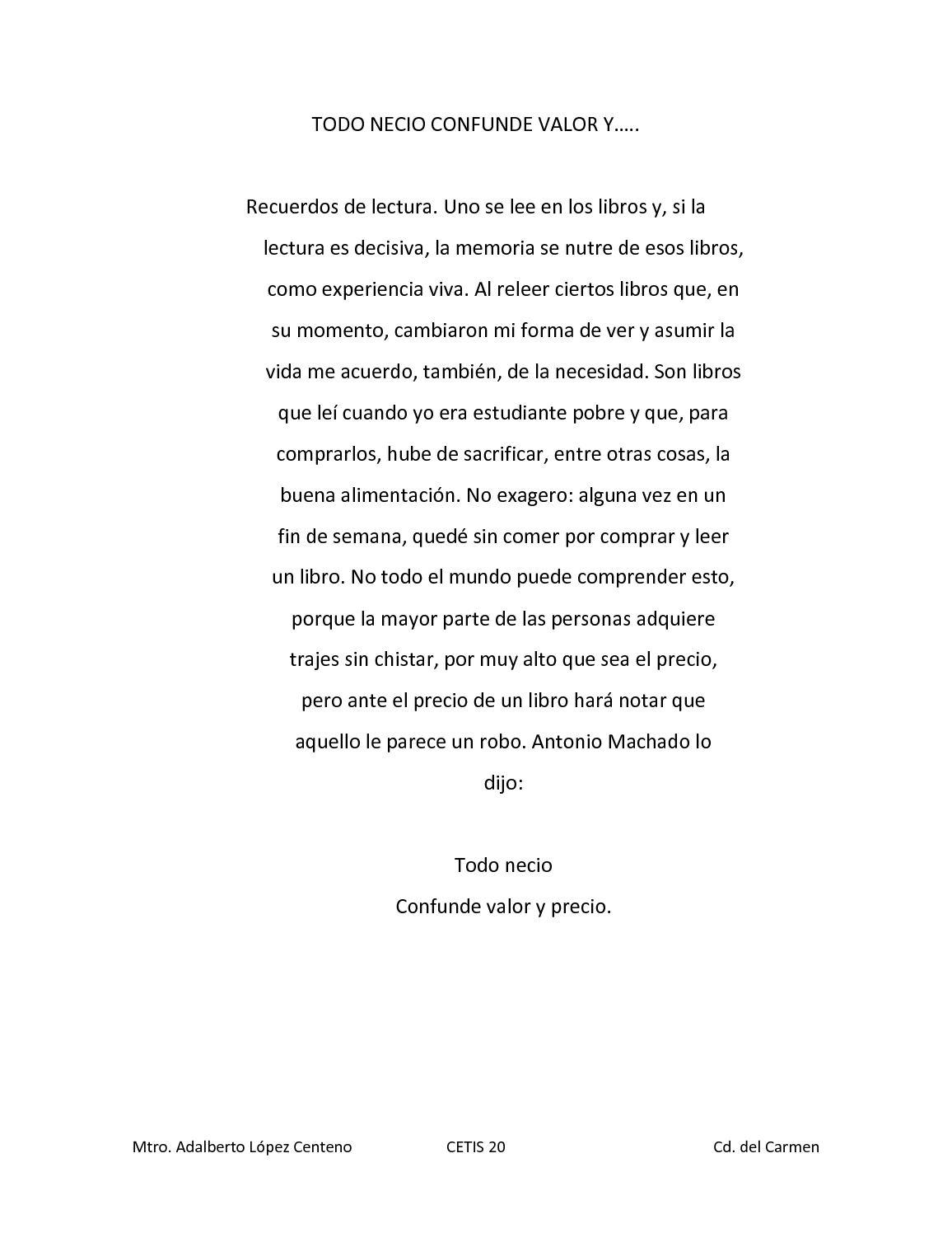TODO NECIO CONFUNDE VALOR Y
