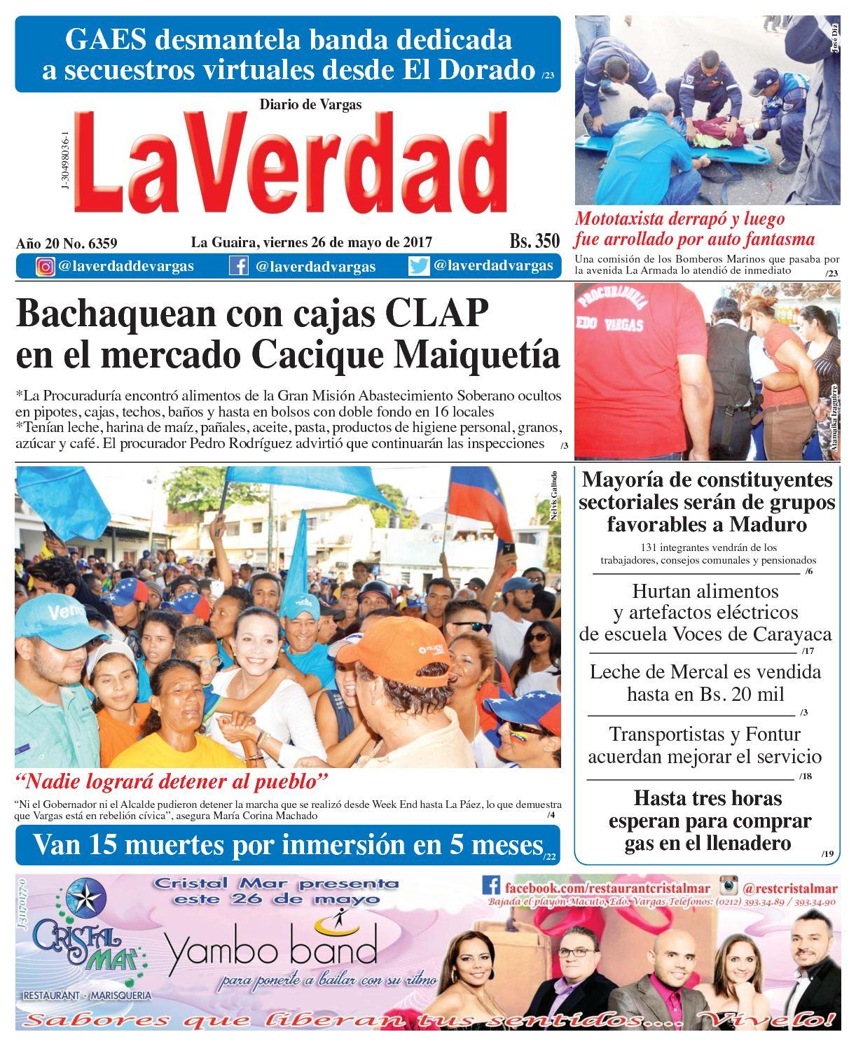 La Guaira, viernes 26 de mayo de 2017 Año 20 No. 6359