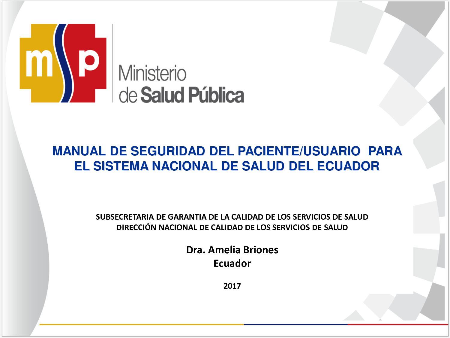 Manual De Seguridad Del Paciente - Ecuador -
