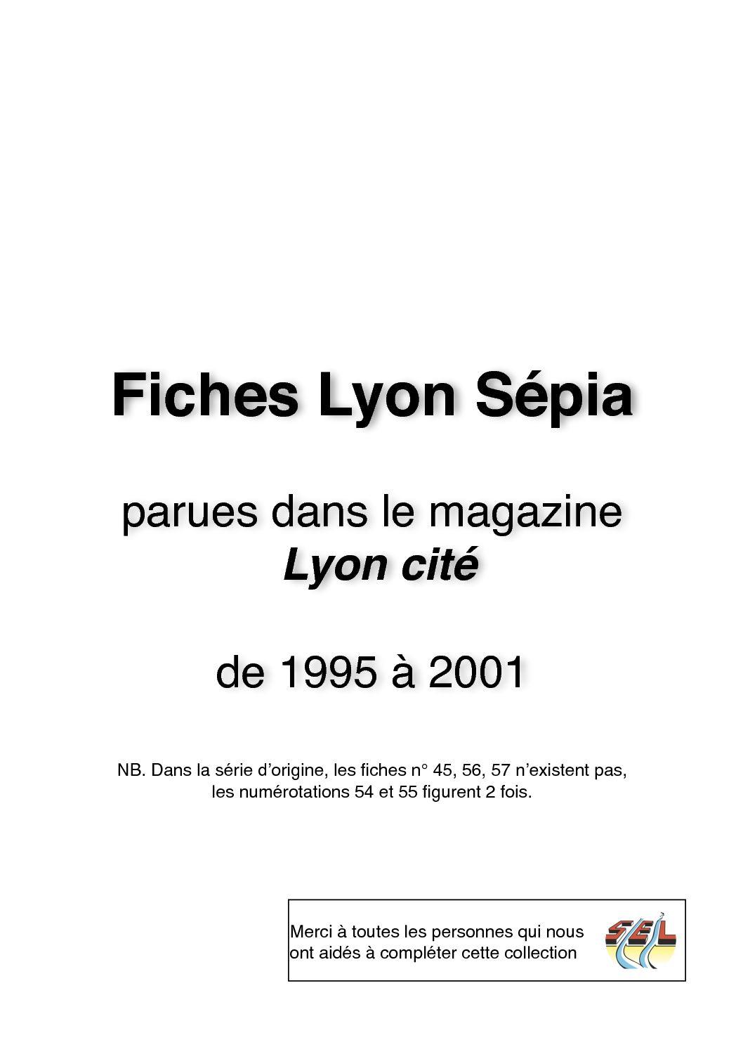 Fiches Lyon Sépia