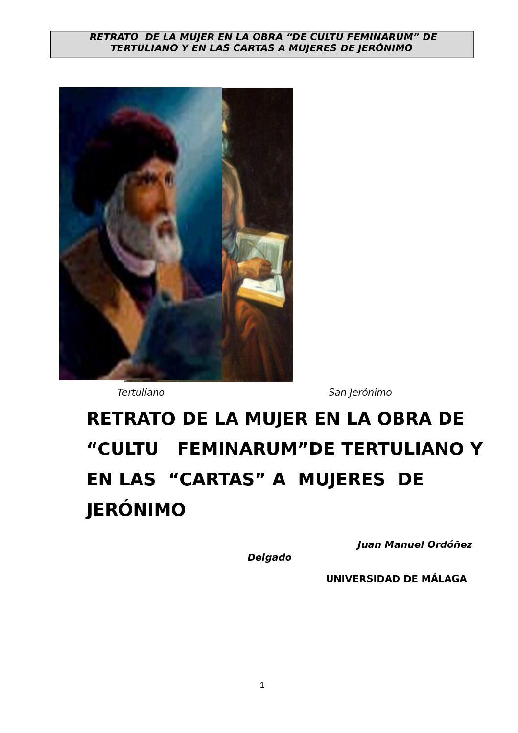 Calaméo - Tfm Cultu Feminarum En Las Cartas A Mujeres De Tertuliano ...
