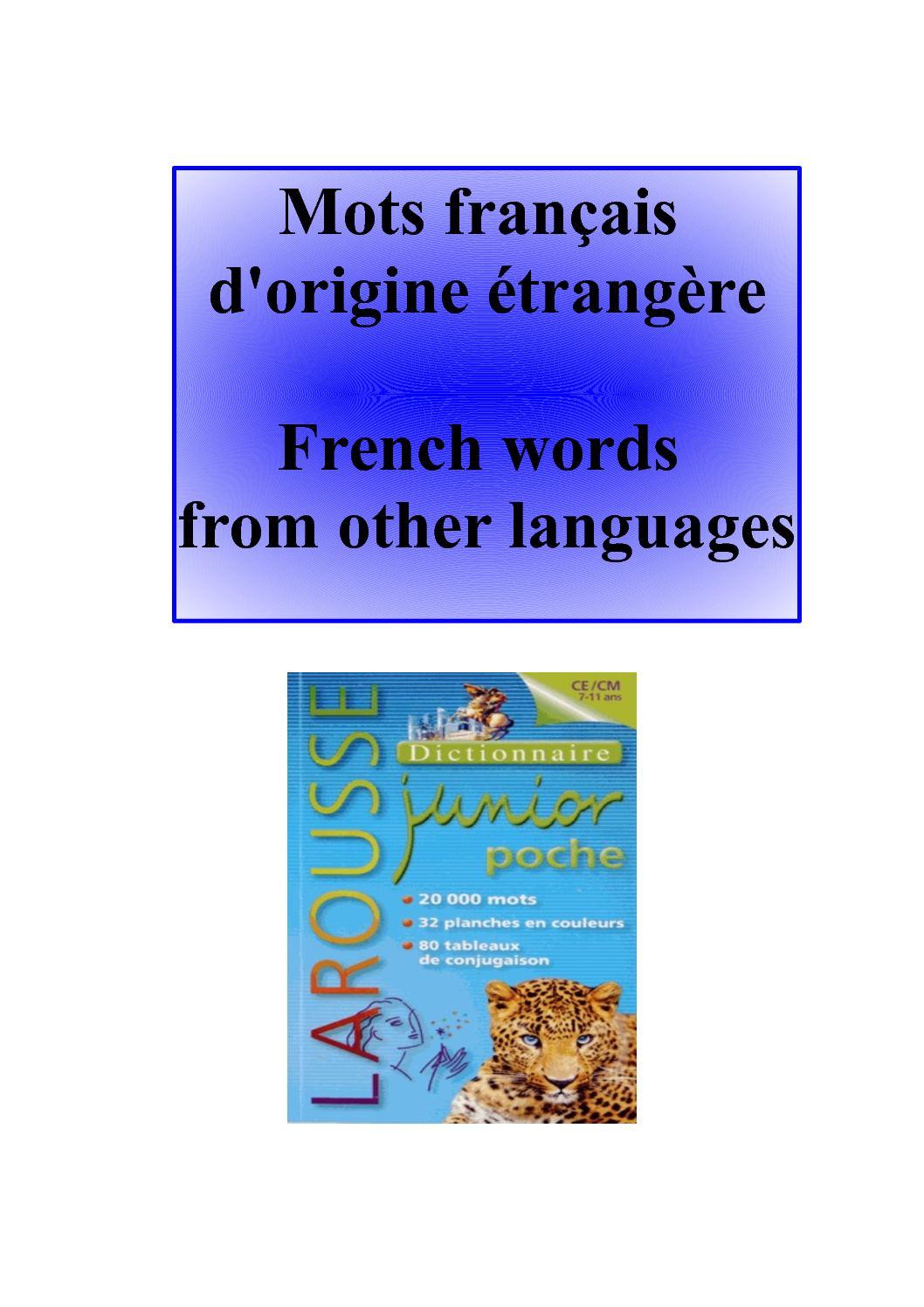 Mots Français D'origine éTrangère
