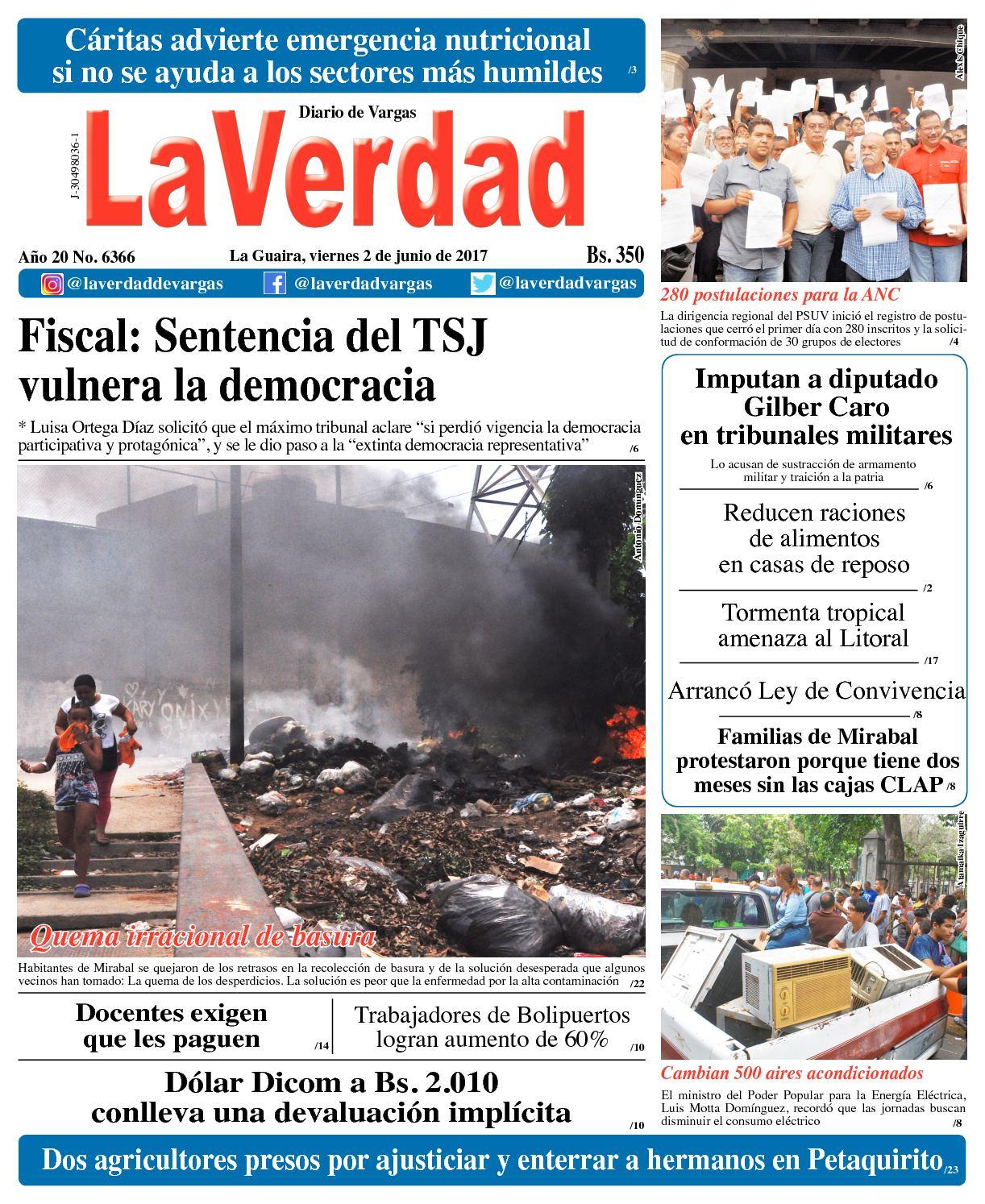 La Guaira, viernes 2 de junio de 2017 Año 20 No. 6366