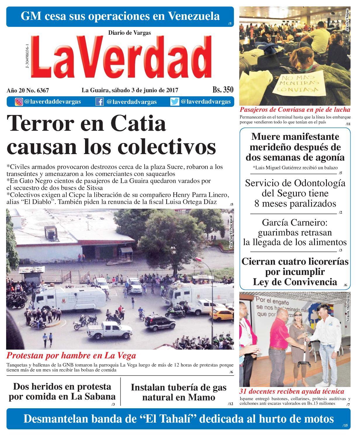 La Guaira, sábado 03 de junio de 2017 Año 20 No. 6367 pdf