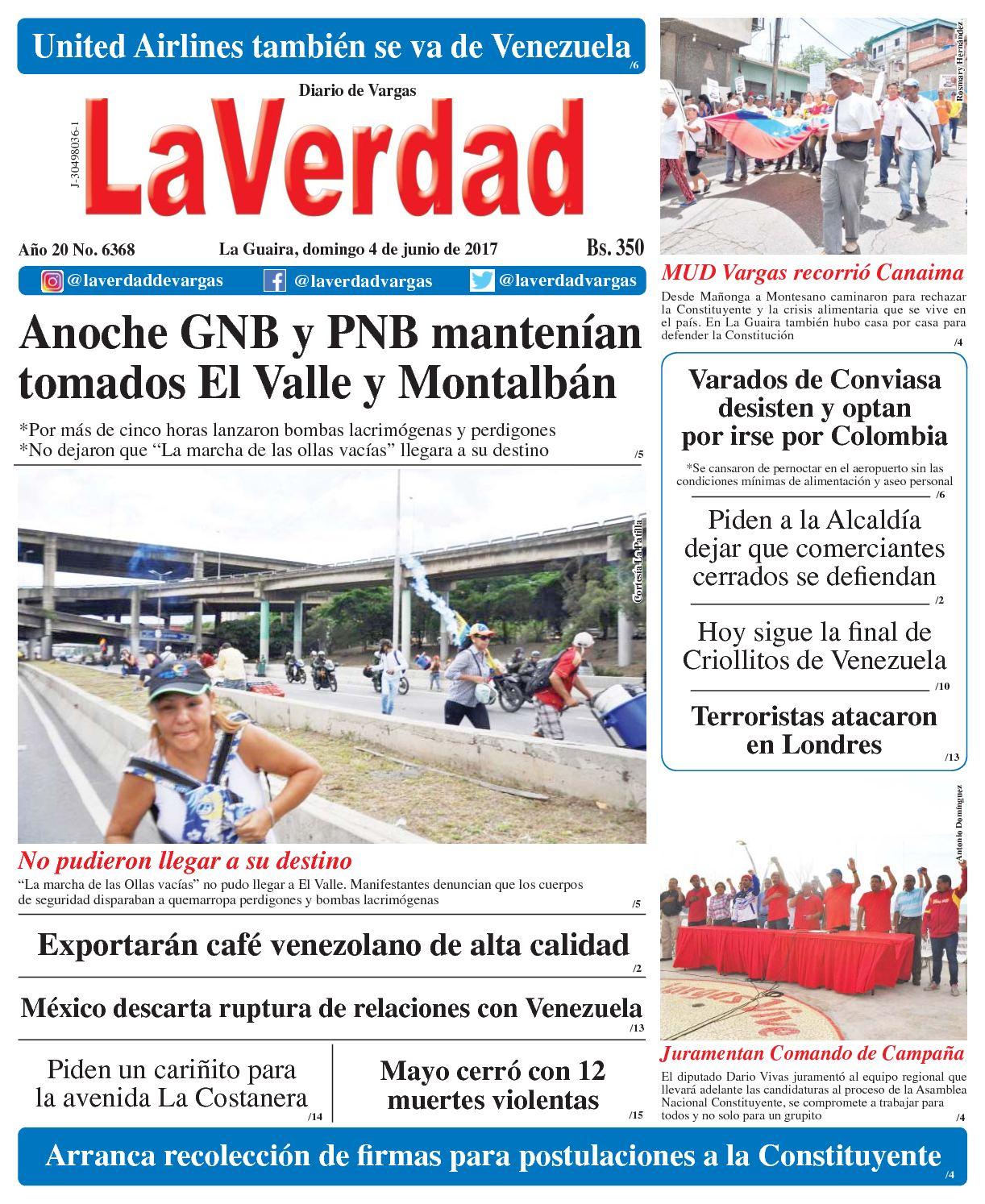 La Guaira, domingo 4 de junio de 2017 Año 20 No. 6368