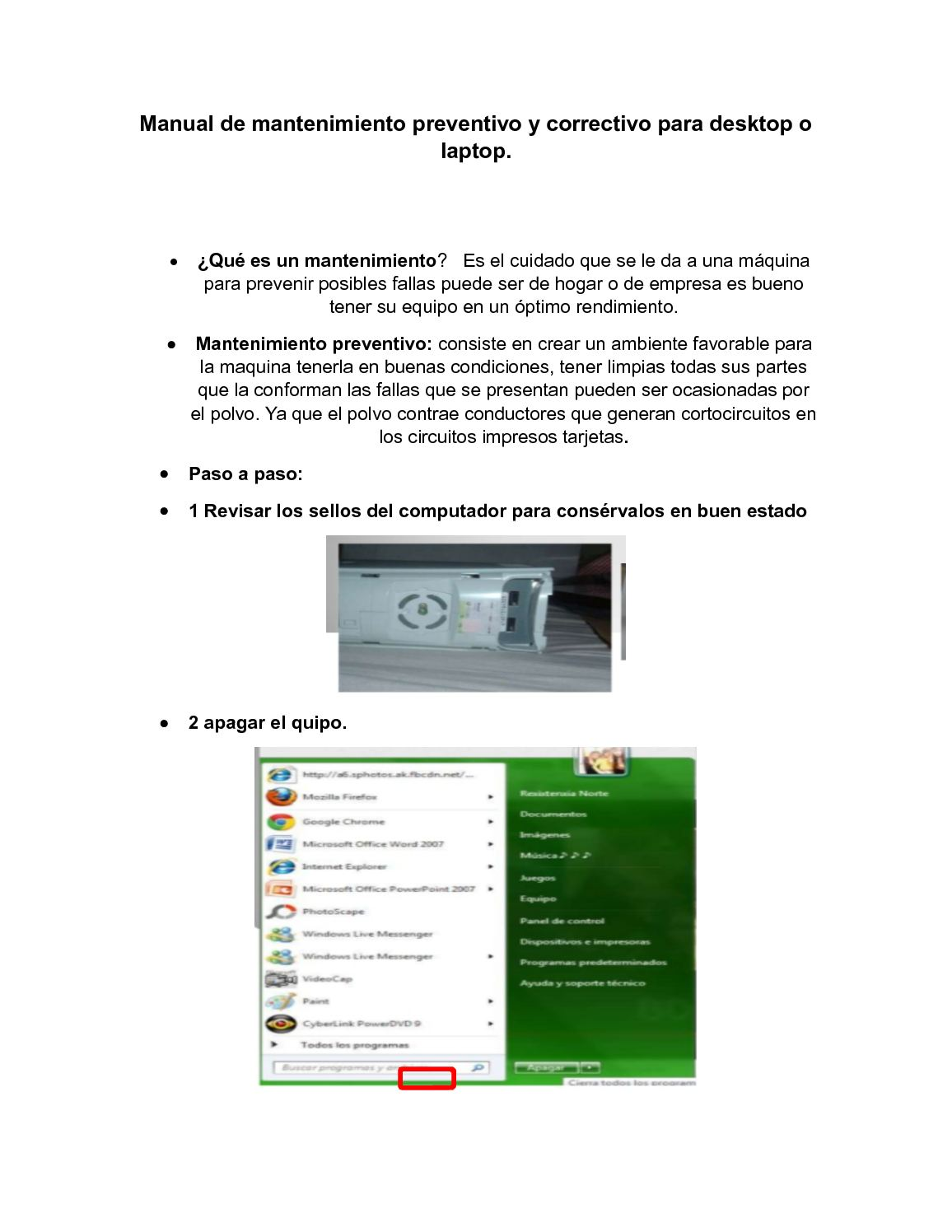 Manual De Mantenimiento Preventivo Y Correctivo Para Desktop O Laptop