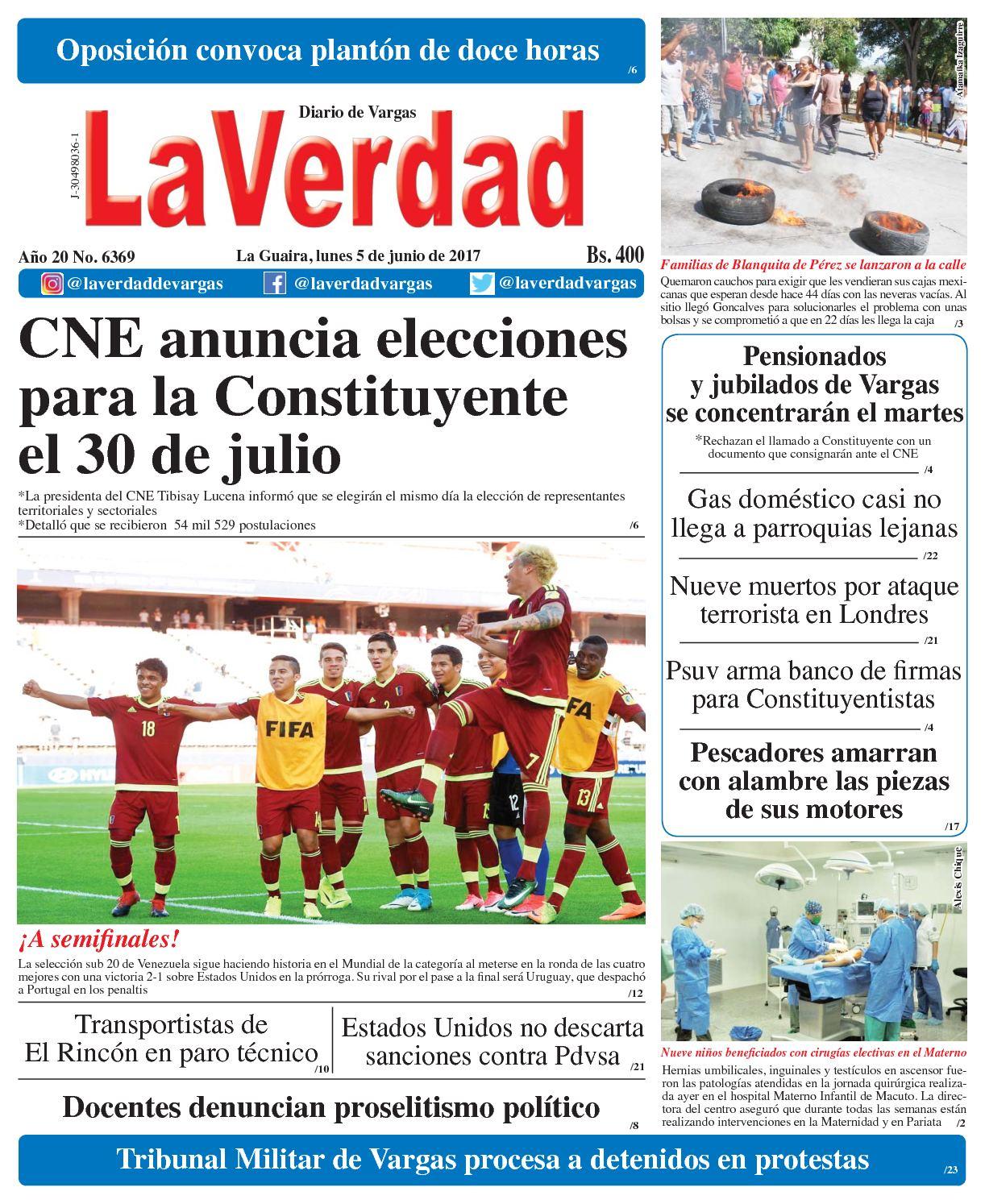 La Guaira, lunes 5 de junio de 2017 Año 20 No. 6369
